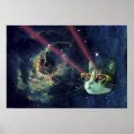Gato del laser con los vidrios en espacio póster
