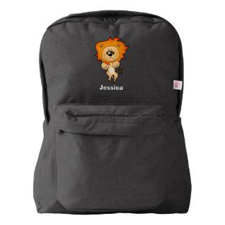 gato del león del dibujo animado mochila