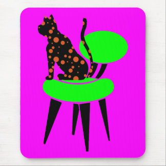 Gato del lunar en la silla - arte pop abstracto tapete de raton