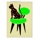 Gato del lunar en la silla - arte pop abstracto felicitaciones