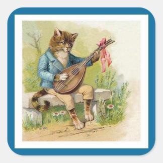 Gato del Mandolina-Playing en chaqueta azul Pegatina Cuadrada
