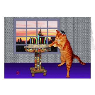 gato del menorah tarjeta de felicitación