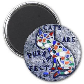 Gato del mosaico imán redondo 5 cm