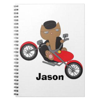Gato del motorista de la motocicleta libreta espiral