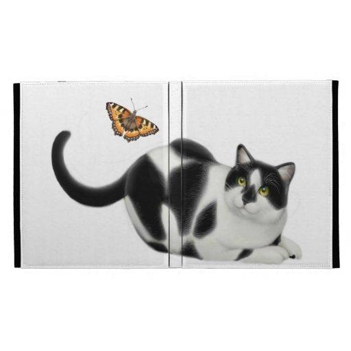 Gato del Moxie y el caso del iPad de la mariposa