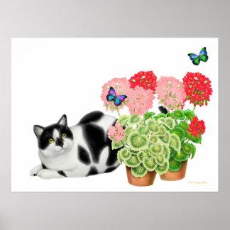 Gato del Moxie y la impresión de las mariposas Póster