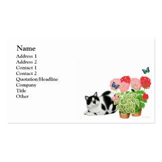 Gato del Moxie y tarjeta de visita de las mariposa