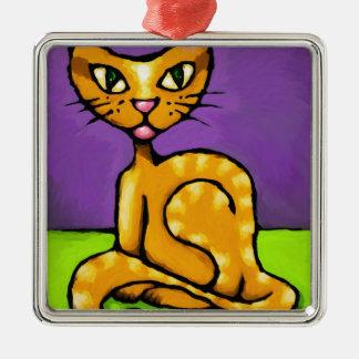 gato del muchacho adorno navideño cuadrado de metal
