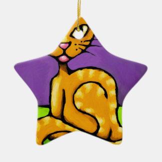 gato del muchacho adorno navideño de cerámica en forma de estrella