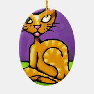 gato del muchacho adorno navideño ovalado de cerámica
