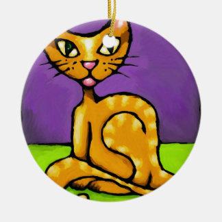 gato del muchacho adorno navideño redondo de cerámica