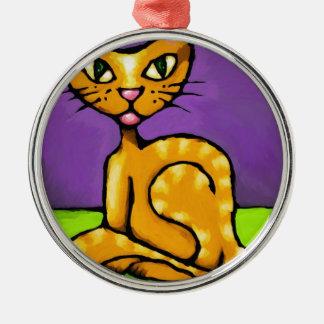gato del muchacho adorno navideño redondo de metal
