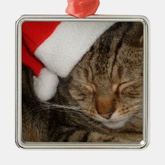 Gato del navidad adorno navideño cuadrado de metal