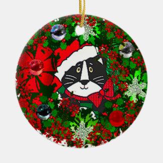 Gato del navidad adorno navideño redondo de cerámica