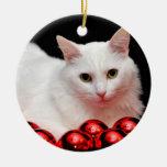 Gato del navidad adorno redondo de cerámica