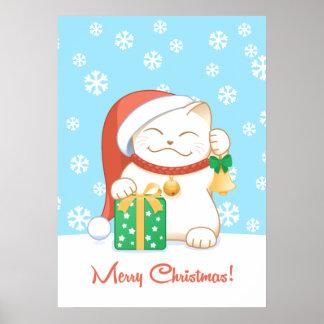 Gato del navidad blanco en Red Hat Póster