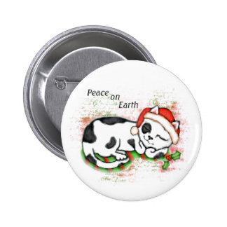 Gato del navidad/botón pacíficos del gatito pin