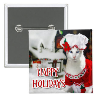 """Gato del navidad - botón """"señora Claws """" del día d Pin Cuadrado"""