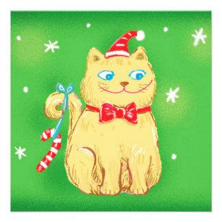 Gato del navidad con el gorra de Santa