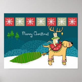Gato del navidad con las astas y el reno del perro póster