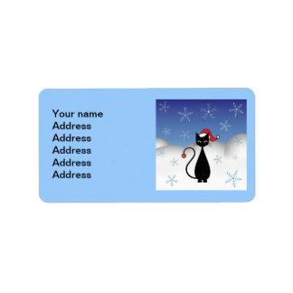Gato del navidad con los copos de nieve etiquetas de dirección