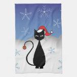 Gato del navidad con los copos de nieve toalla de mano