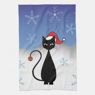 Gato del navidad con los copos de nieve toalla