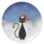 Gato del navidad con los copos de nieve plato para fiesta