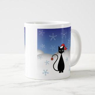 Gato del navidad con los copos de nieve taza grande