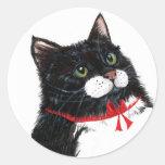 Gato del navidad de Tux Pegatina Redonda