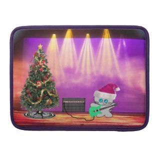 Gato del navidad del rock-and-roll fundas para macbooks