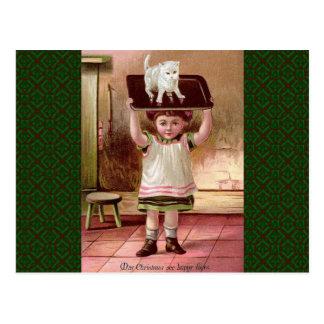 Gato del navidad del Victorian del vintage el Postal