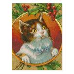 Gato del navidad del vintage tarjeta postal