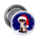 Gato del navidad en el gorra de Santa Pin