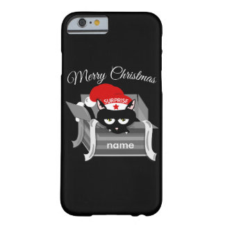 Gato del navidad en una caja de regalo funda barely there iPhone 6