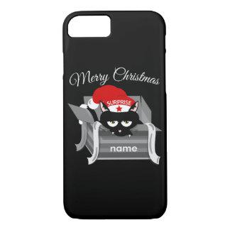 Gato del navidad en una caja de regalo funda iPhone 7