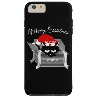 Gato del navidad en una caja de regalo funda resistente iPhone 6 plus
