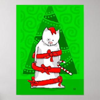 Gato del navidad envuelto en cinta roja del día de posters