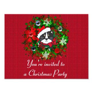 """Gato del navidad invitación 4.25"""" x 5.5"""""""