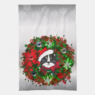 Gato del navidad toalla de cocina