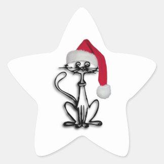 Gato del navidad pegatina en forma de estrella