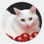 Gato del navidad pegatina redonda