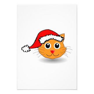 Gato del navidad que lleva el gorra de Santa Anuncios Personalizados