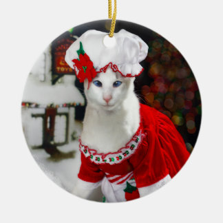Gato del navidad - señora Claws Christmas Cat Orna Ornamente De Reyes