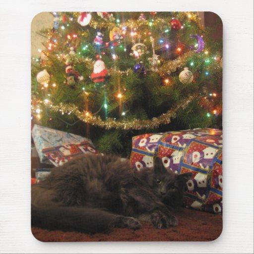 Gato del navidad tapete de raton