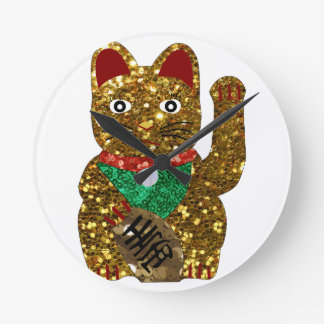 gato del neko del maneki reloj redondo mediano