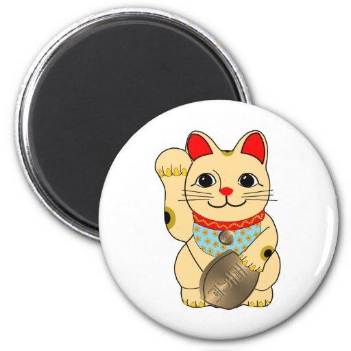 Gato del oro imán redondo 5 cm