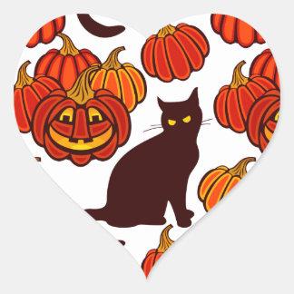 Gato del otoño pegatina en forma de corazón