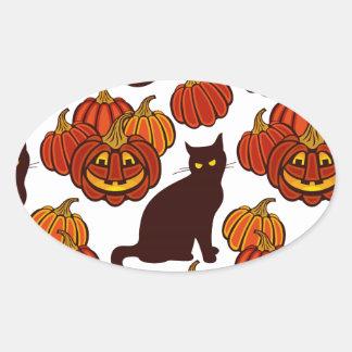 Gato del otoño pegatina ovalada