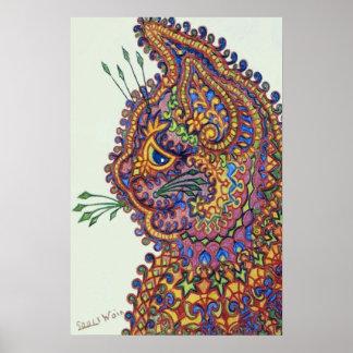 Gato del papel pintado de la fantasía de Louis Wai Poster